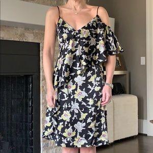 NWOT Cinq a Sept Black Satin Floral Dress